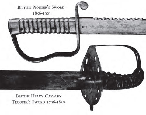 British Pioneer's Sword 1856-1903 and British Heavy Cavalry Trooper's Sword 1796-1830