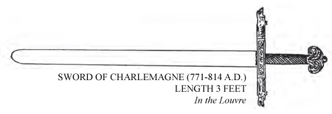Sword of Charlemagne (771-814 A.D.) Length 3 feet, in the louvre