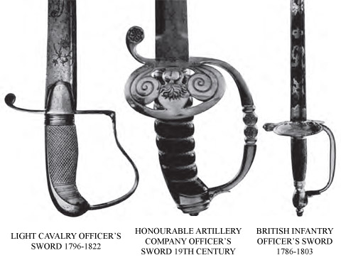 Light Cavalry, Honourable Artillery Company and British Infantry Swords